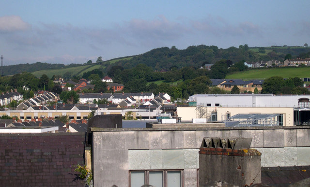 Carmarthen roofscape from Shell Keep