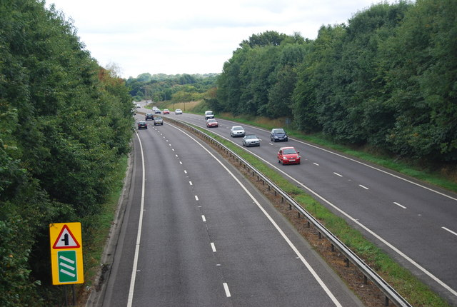 Looking east along the A21, Pembury Bypass