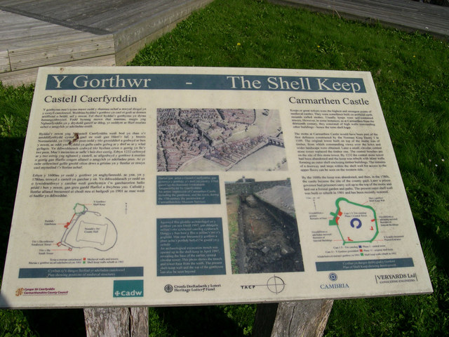 "Plaque ""The Shell Keep"" Carmarthen Castle"