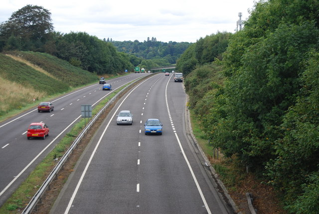 Looking west along the A21 Pembury Bypass