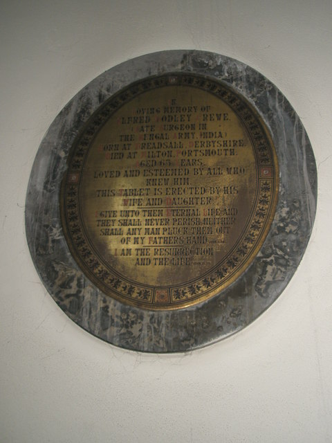 Memorial on the south wall at St James, Milton