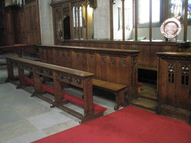 Choir stalls within St James, Milton
