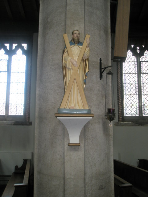 Statue of St Andrew within St James, Milton