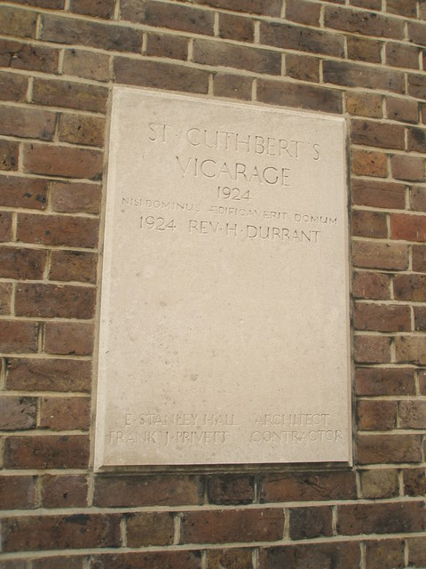 Plaque sadly not continued at St Cuthbert's Vicarage