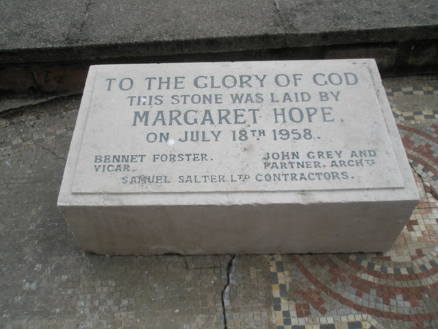 Commemorative stone outside St Cuthbert's