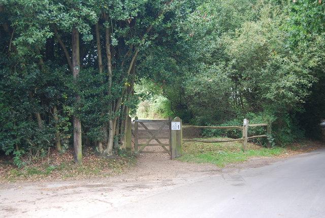 Gate off Benhall Mill Rd into Nevill Golf Club