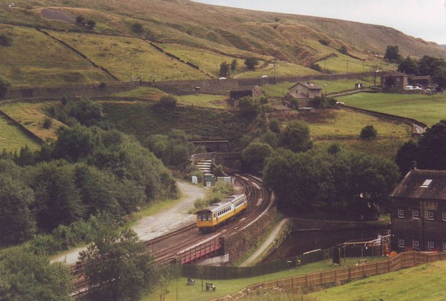 Railway and canal meet at Marsden, West Yorkshire