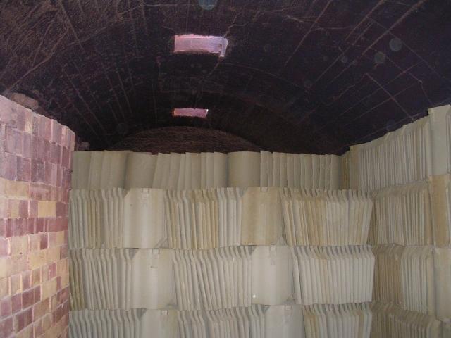 Hoe Hill Tile Works - Inside the Kiln - prior to firing!