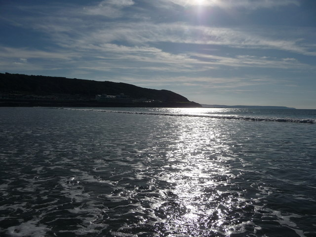Westward Ho! : Headland, Sun Sea Reflections & Coastline