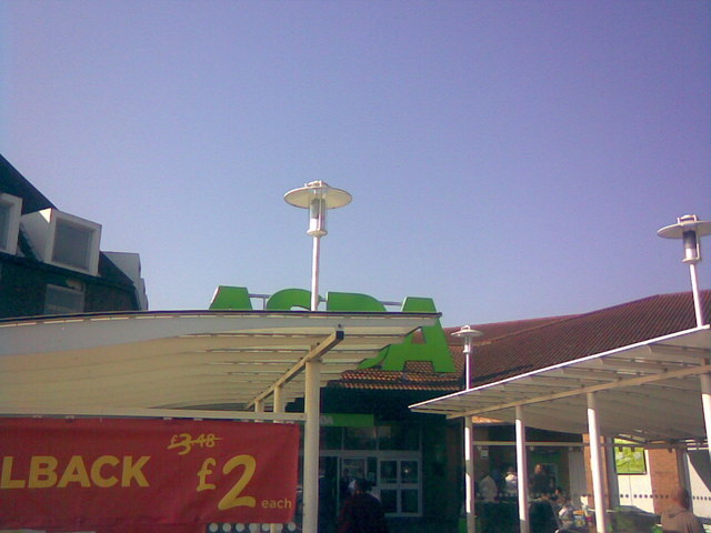 Lamp posts attached to the trolley parks in Beckton Asda