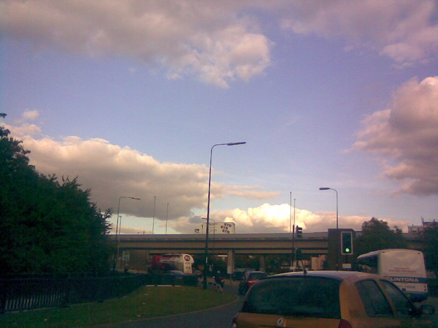 Redbridge Roundabout, viewed from the A12 Eastern Avenue from Wanstead