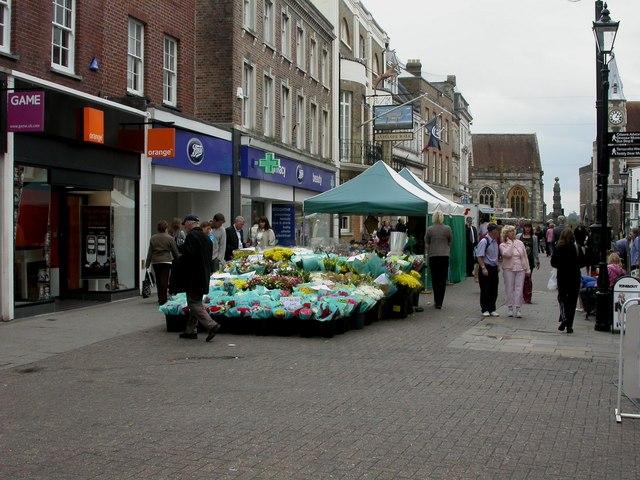 Dorchester, market stalls