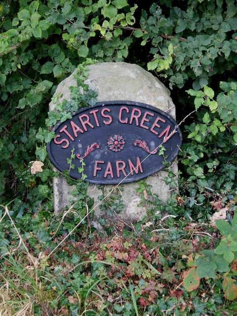 Starts Green Farm sign