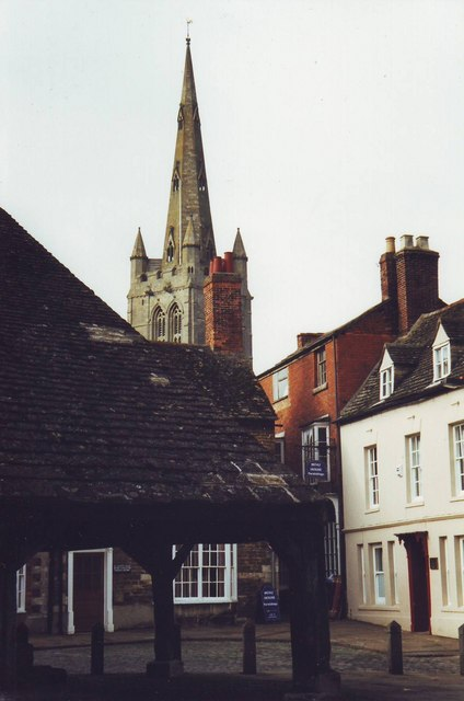 Buttercross and church in Oakham, Rutland