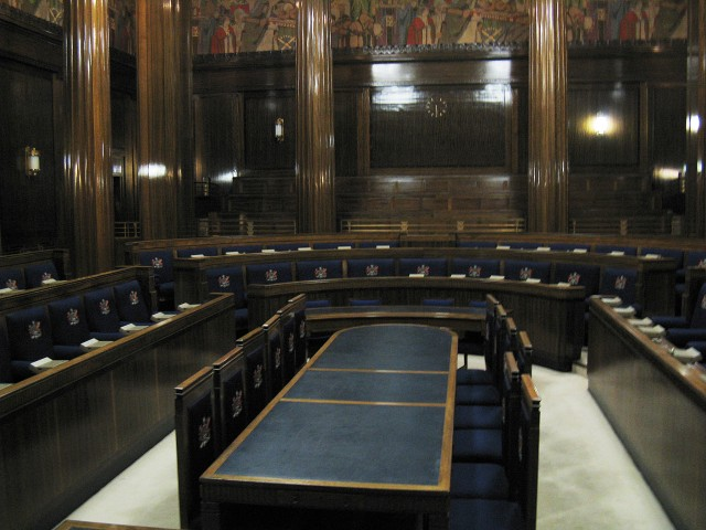 The council chamber in Swansea Guildhall