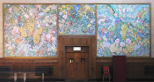 Panels at the rear of Brangwyn Hall