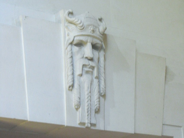Viking detail in Swansea Guildhall