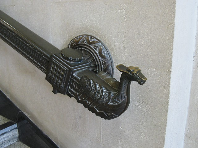 Viking themed handrail in Swansea Guildhall