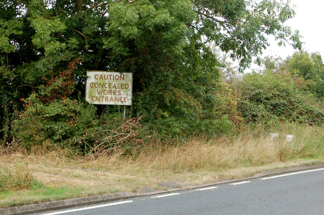 A warning sign beside the A423 road
