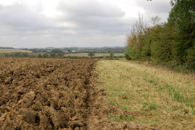 A wide headland beside fresh ploughing south of Long Itchington