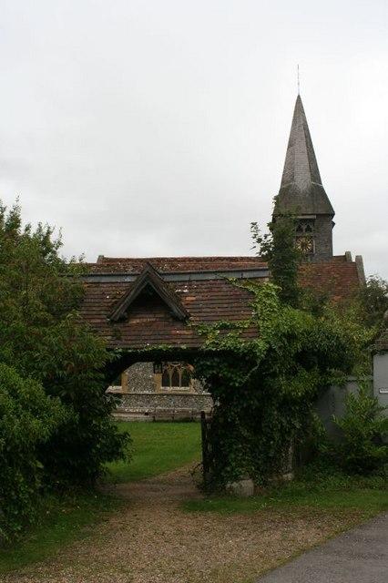 Church through the lych gate