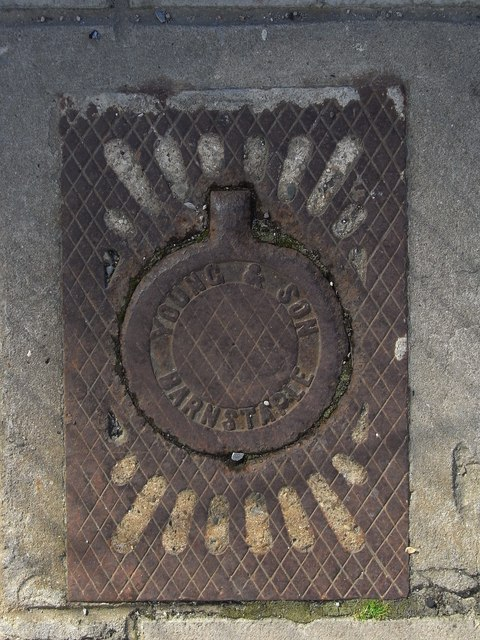 Access/ inspection cover bearing the name: Young & son, Barnstaple
