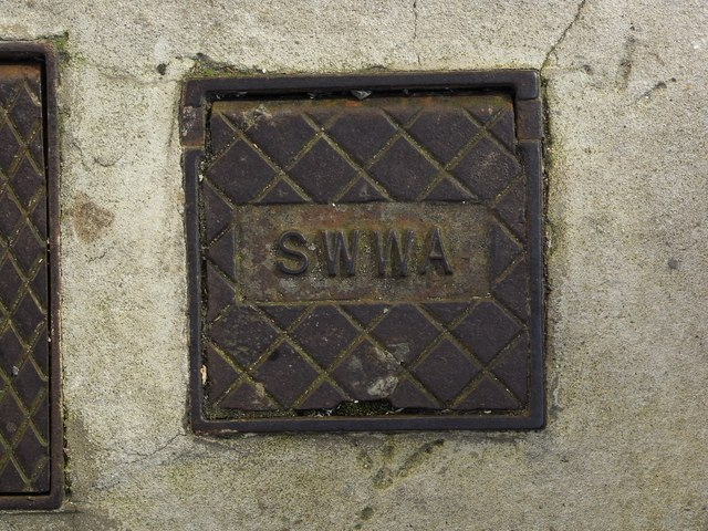 Inspection/ access cover presumably originating from the South West Water Authority