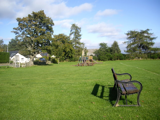 A bench in Farquharson Park, Finzean