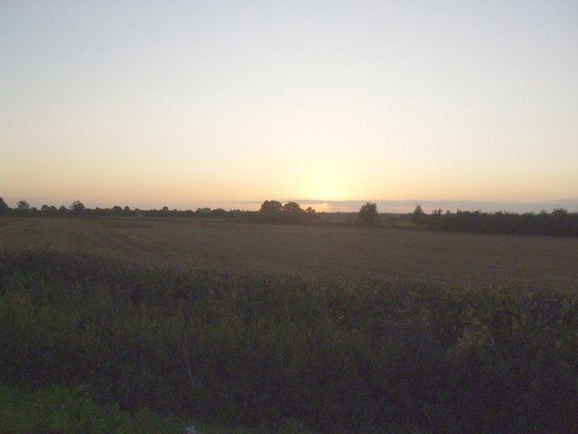 Sunset over fields north of Holme on Spalding Moor