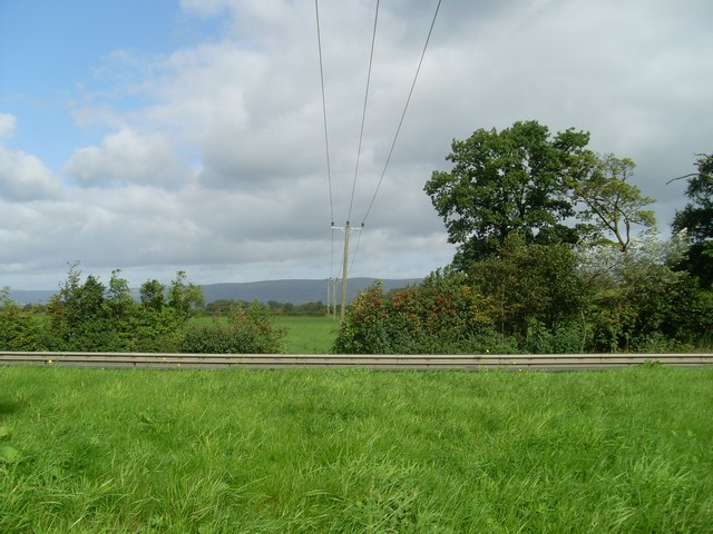 Power lines crossing the A80