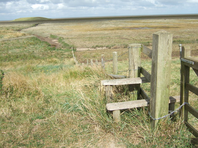 Stile on the sea bank of The Wash