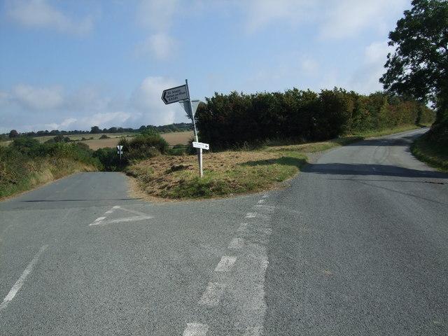 Road junction near Bryn - y - Maen
