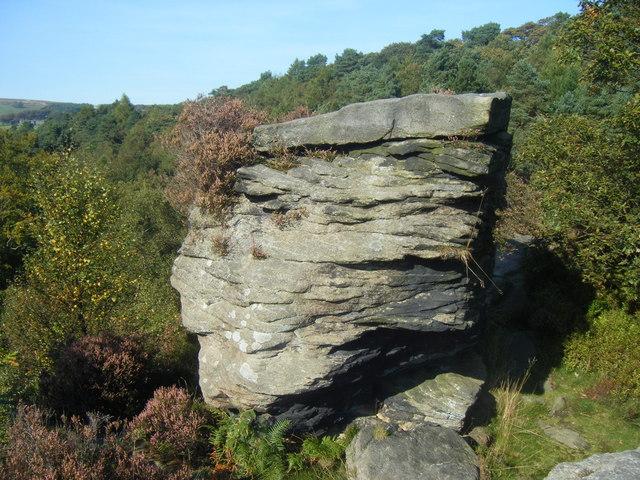 Rock at Summit, Hardcastle Crag,  236m