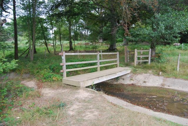 Tunbridge Wells Circular Path  crosses a footbridge by the small lake, Eridge Park