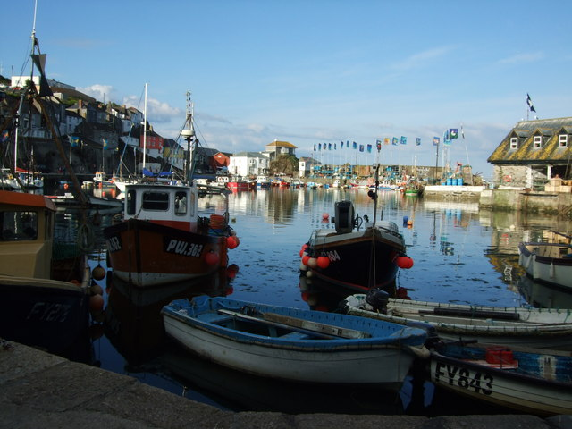 Fishing boats in inner harbour at Mevagissey