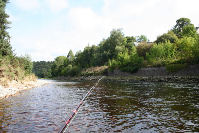 "Salmon angler's view of ""Smithy's"" pool on the Spey"