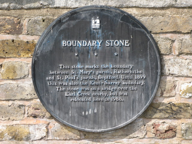 Plaque re the boundary stone, Deptford Wharf