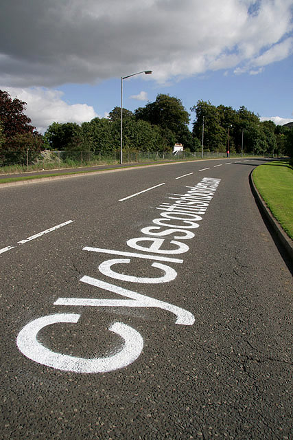 A road marking for the 2009 Tour of Britain Cycle Race