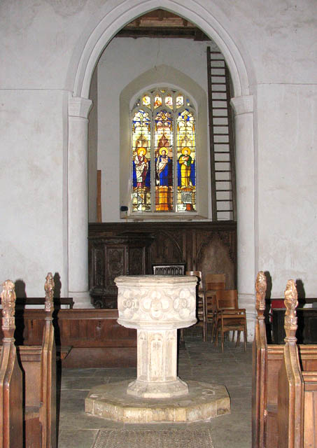 St Michael's church - font and west window