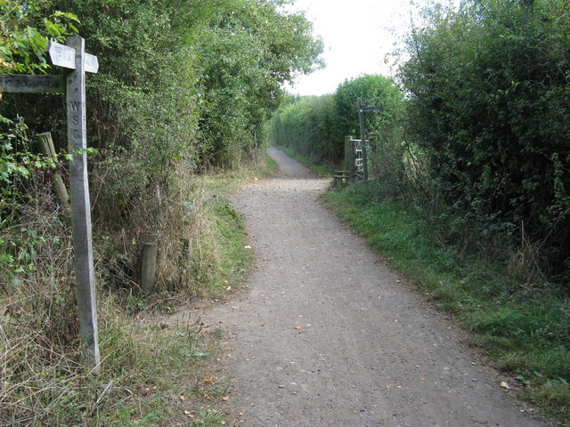 Staggered intersection of paths on the Downs Link SE of Slinfold
