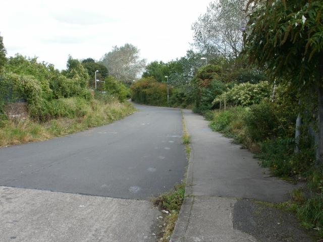 Road from the east side of Maesglas railway bridge