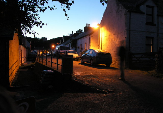 Main Street, Dervaig on a summer evening