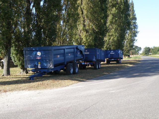 Grain trailers at Cockbrook farm