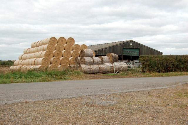 Stack of bales beside Flecknoe Station Road