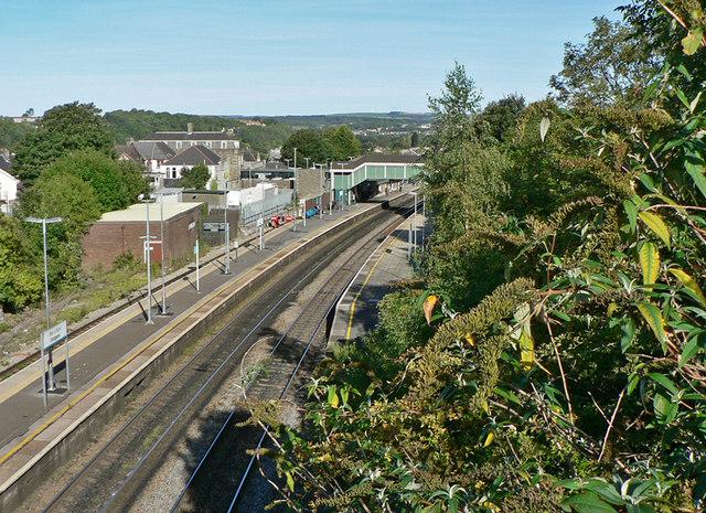 Bridgend station and railway from the Brackla Street bridge