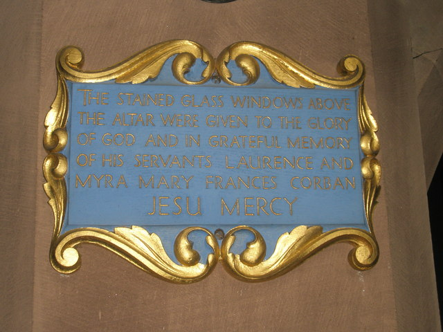 Commemorative plaque within St Alban's, Copnor