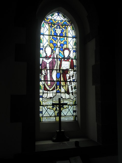 Beautiful stained glass window within St Alban's, Copnor