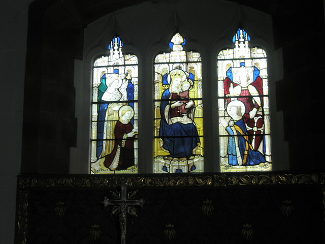 Stained glass window behind the side altar at St Alban's, Copnor