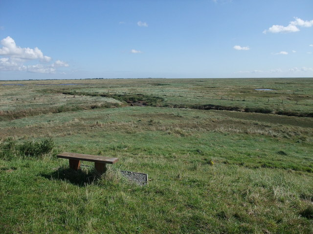 Seat with a view of Frampton Marsh nature reserve