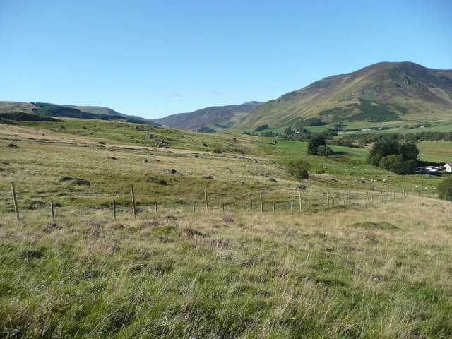 Looking across the grassy slopes of Meall Uaine